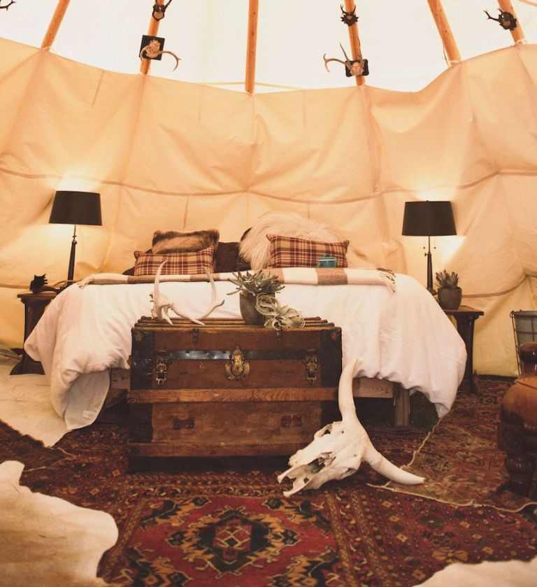Stay in the dreamcatcher tipi in montana