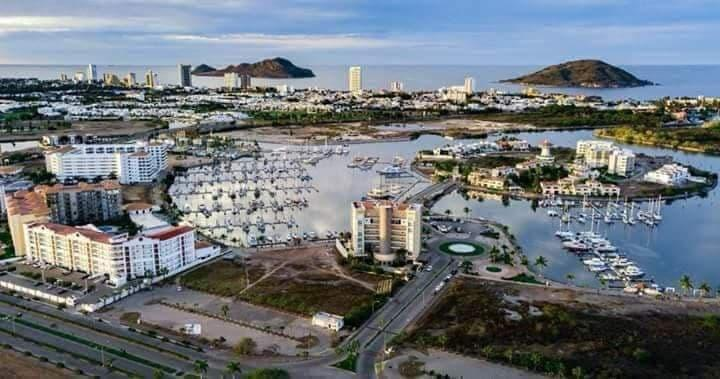 ariel of the marina in mazatlan