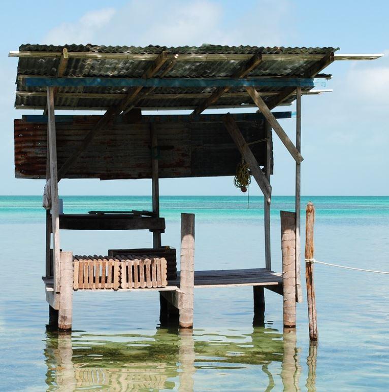 Belize beach with purgola