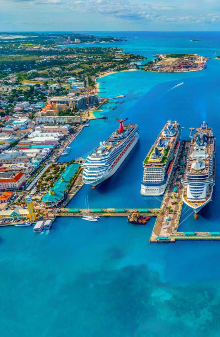 Carnival Cruise Ship Docked in Bahamas with two other ships