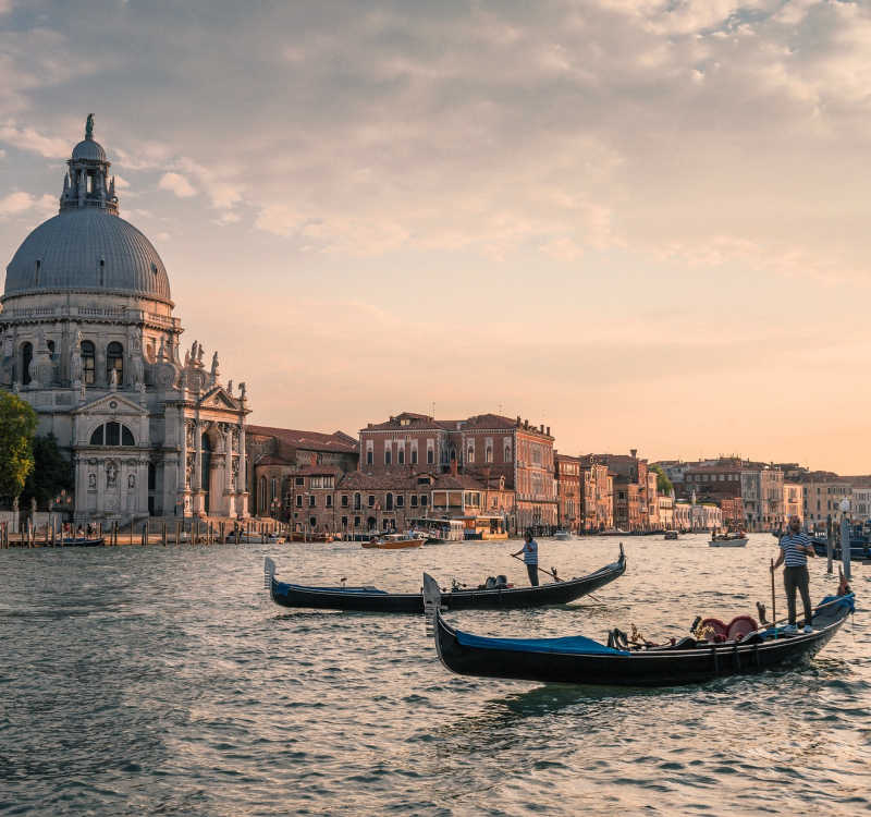 Channel in venice with boats