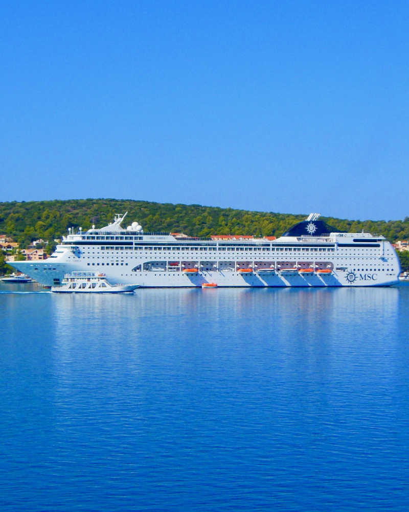 Msc cruise ship in greek islands