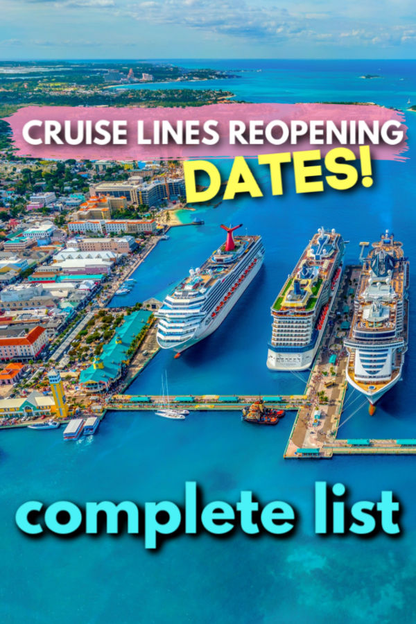 cruise line reopening dates - the complete list