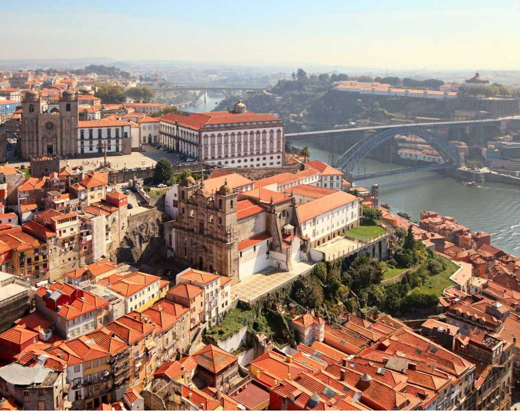 Aerial view of old town of Porto, Portugal