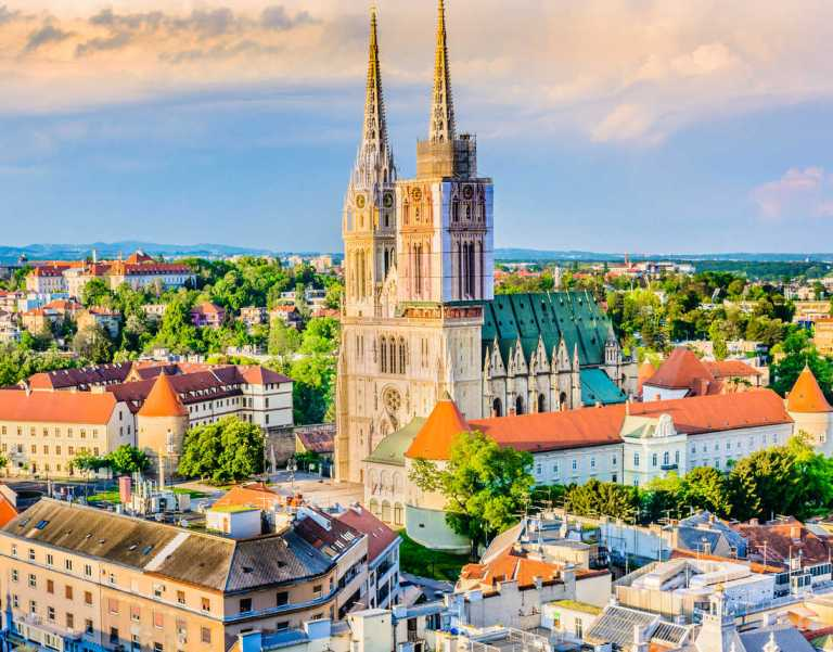Aerial view on cathedral in Zagreb city, capital town of Croatia