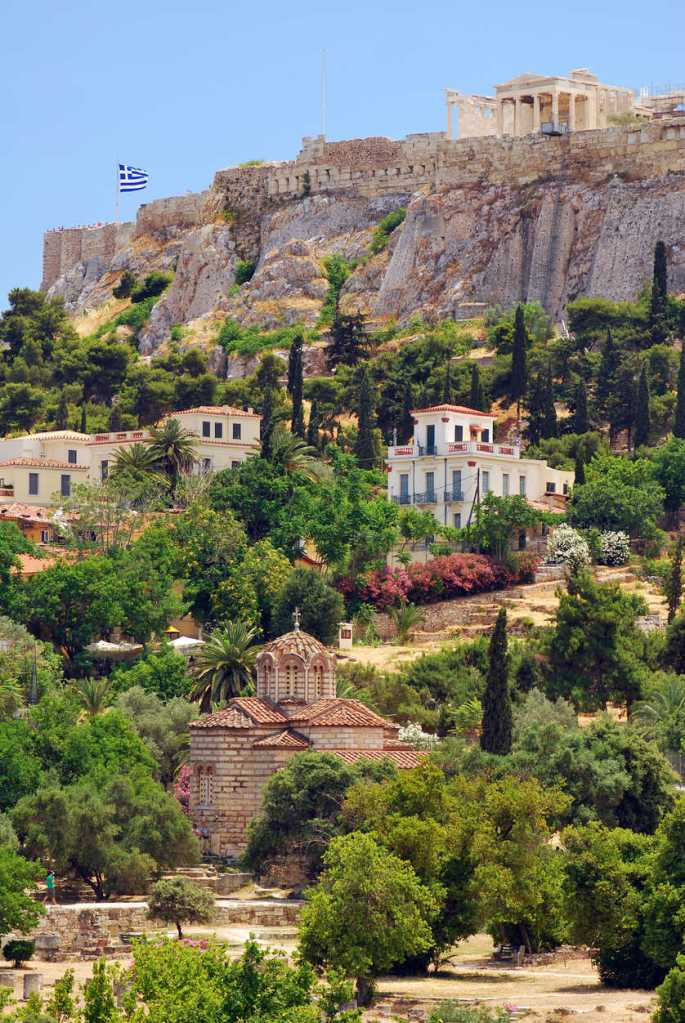Ancient Agora and the Acropolis in Athens, Greece