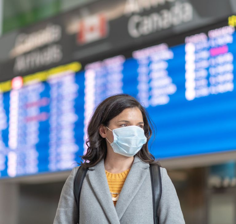 canada traveler airport facemask