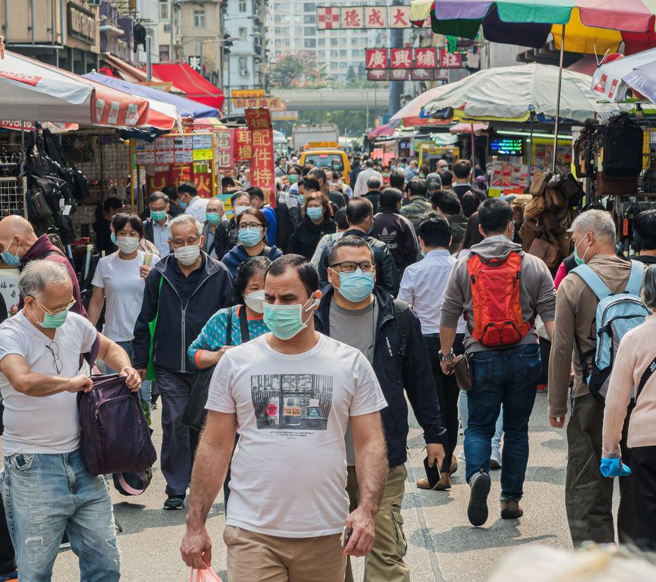 Citizens wear masks on Apliu Street in Hong Kong