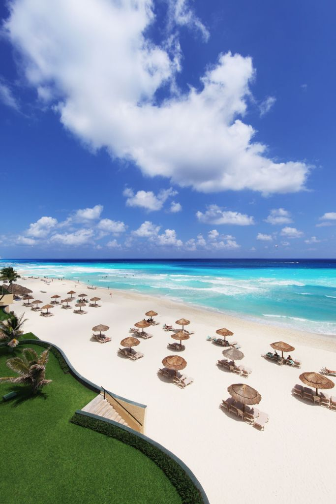 Resort on white sand beach in Cancun