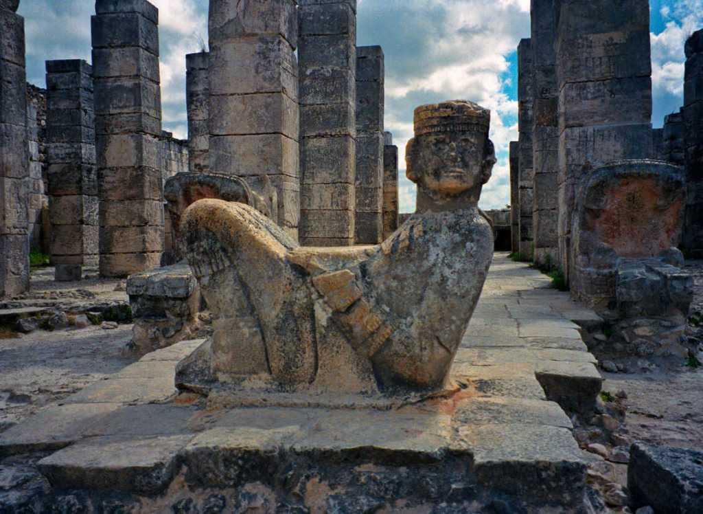 Statue of Mayan god Chac Mool at Chichen Itza, Yucatan, Mexico