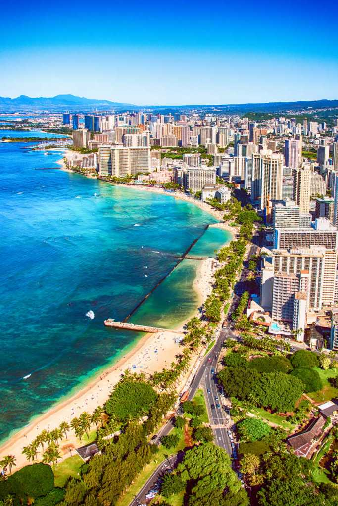 The skyline and coast of Honolulu and Waikiki on Oahu, Hawaii