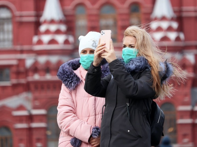 tourists in the Red Square, Moscow