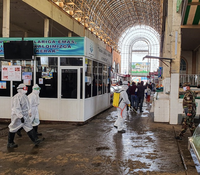 sanitizing local market in tashkent