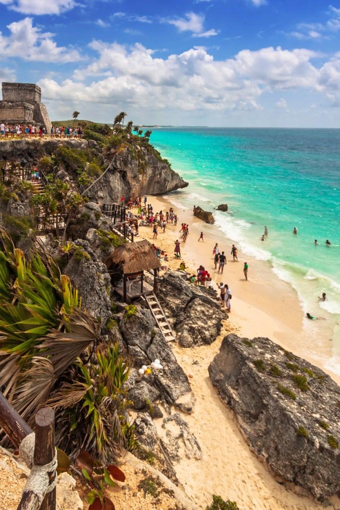 Beautiful Tulum beach at Caribbean sea