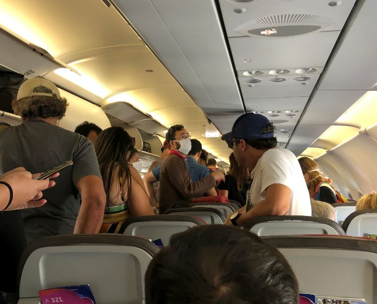 passengers arriving in plane