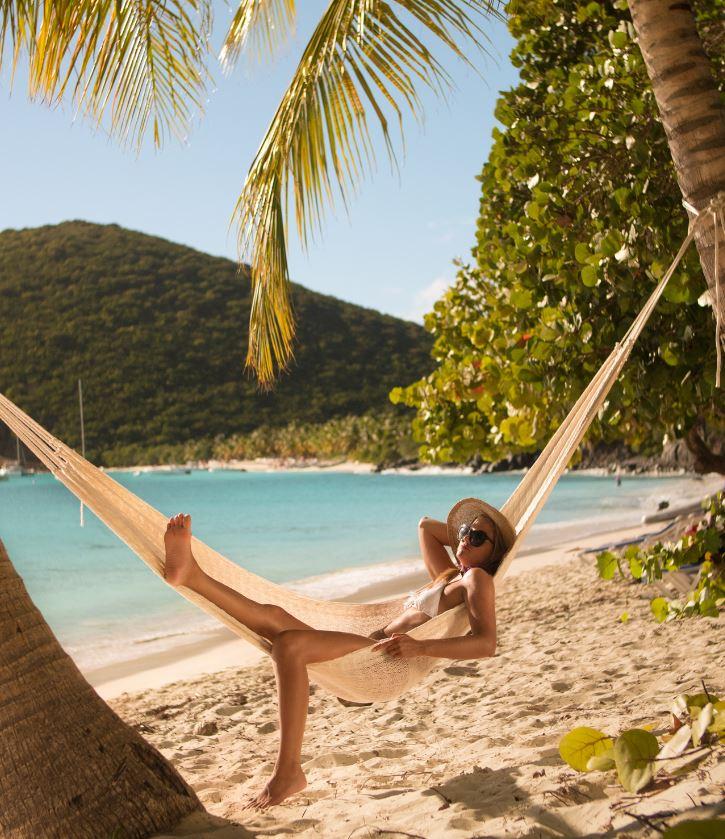 Woman on beach british virgin islands