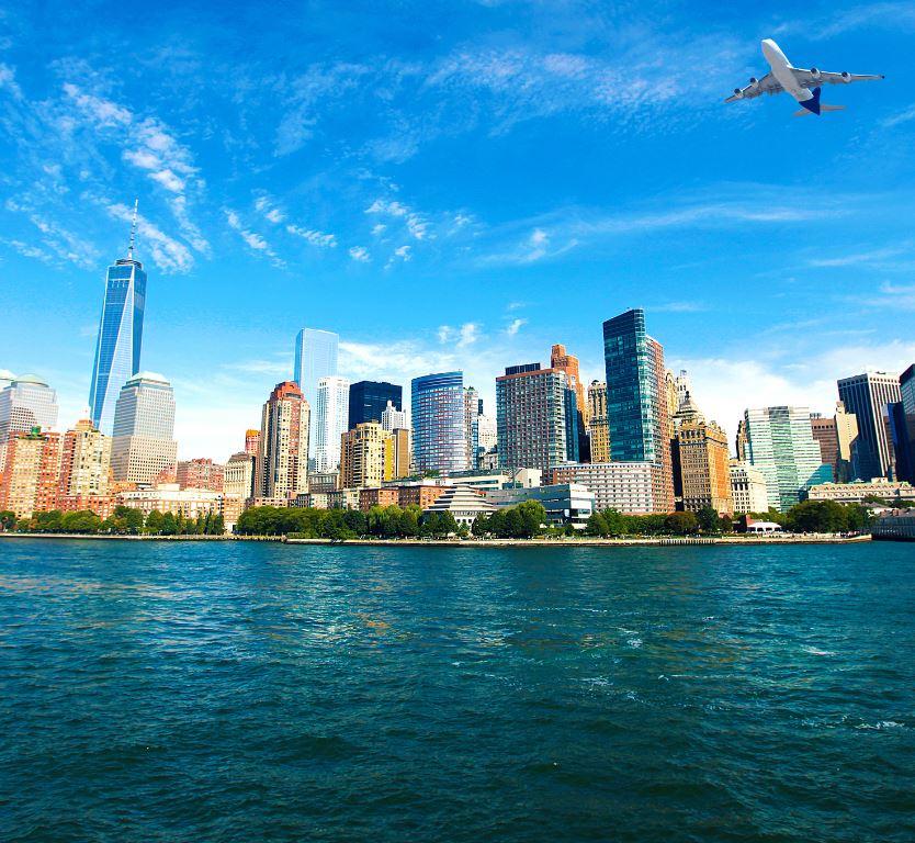 plane flying over New York