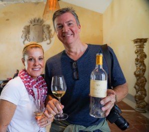 Tour Guests enjoy Bordeaux wine