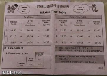 阿蘇駅前到阿蘇山西駅的巴士每日上下行只有各三班,不設訂位。
