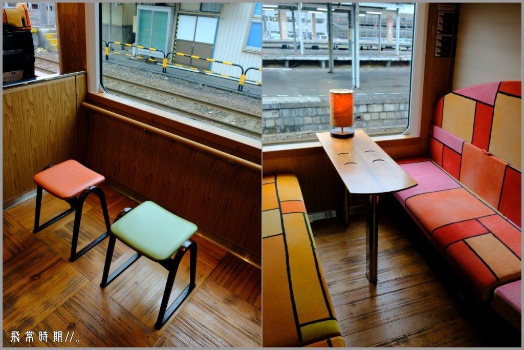 (左)設有面窗而坐的椅子,方便旅人欣賞風景。(右)除了一般座椅,還有包廂。