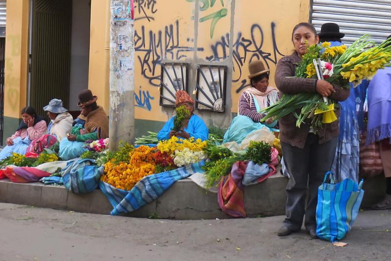 Blumenmarkt in La Paz Bolivien