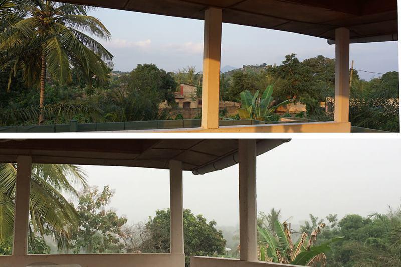 Ausblick in Kpalimé mit und ohne Harmattan
