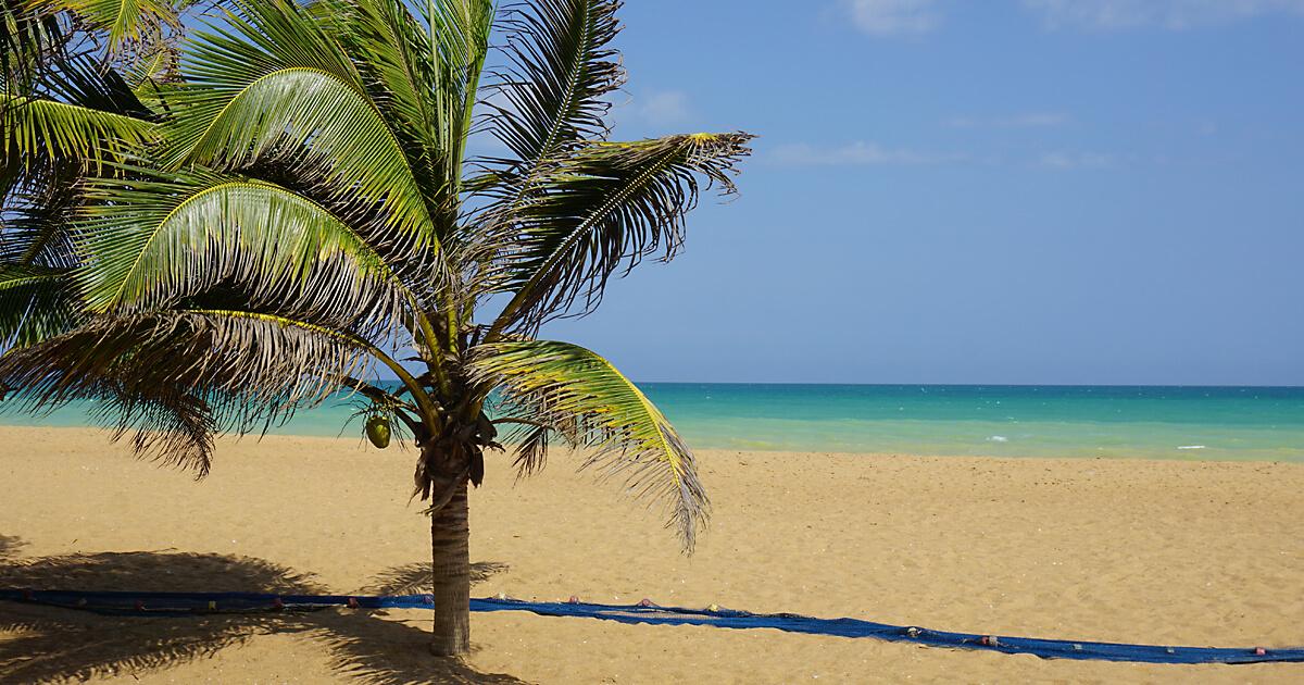 Blick vom Hotel Côte Sud auf den Strand von Togo