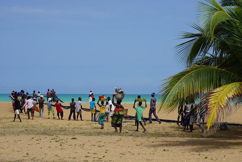 Traditionelle Fischerei am Strand von Togo in Aneho