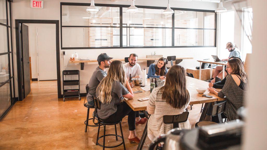 Cool startup team meeting