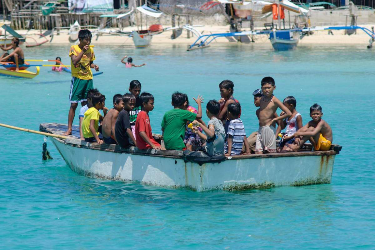 Cagbalete Island children on a boat
