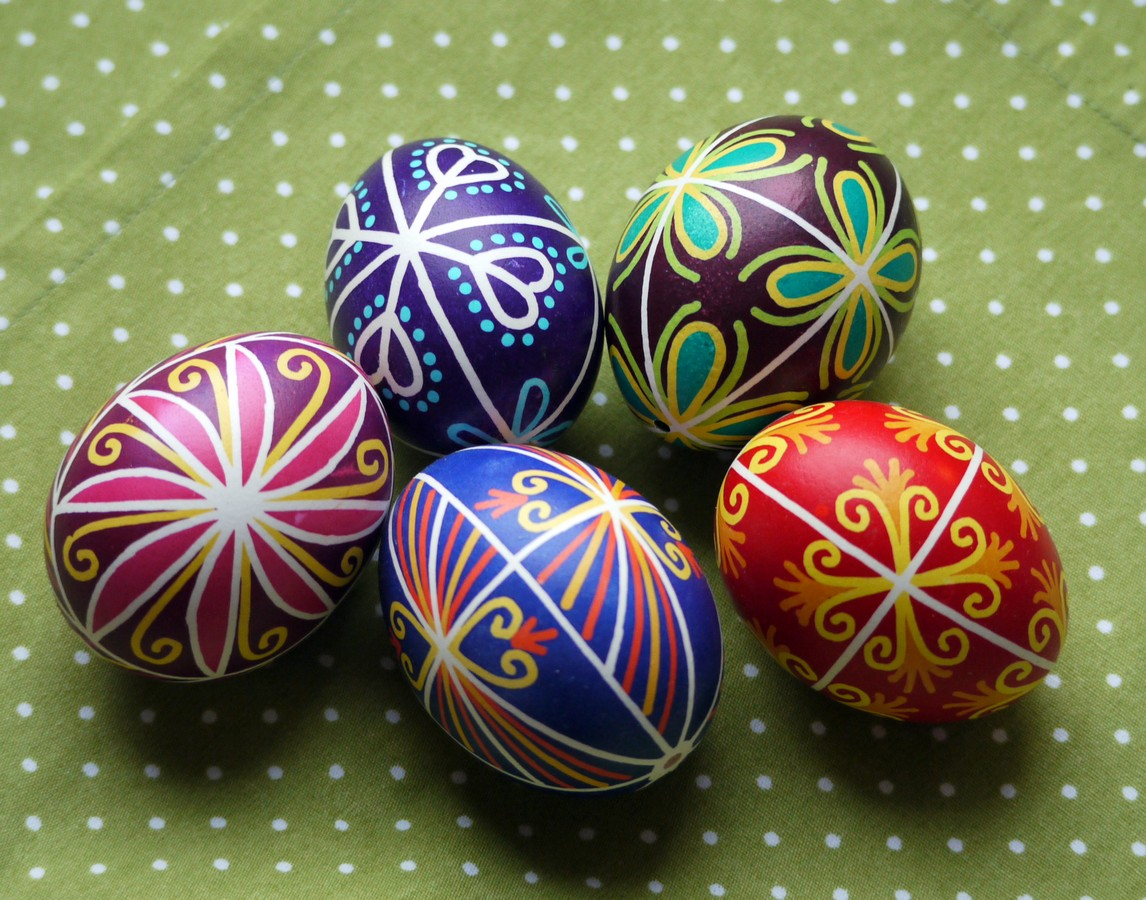 happy easter traditional art of decorating eggs in slovakia