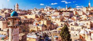 Daken van Oude Stad met Heilig Graf Kerk Koepel, Jeruzalem, Israël
