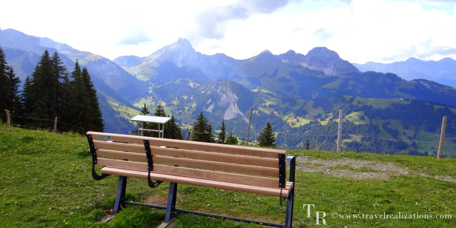 Lonely bench and mountain