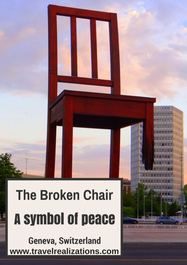 This 12 meter high, broken chair, in front of European headquarters of the United Nations in Geneva, Switzerland echoes a simple message; remember the victims of land mines, urge your government to promote a ban on land mines. #Switzerland #Travel