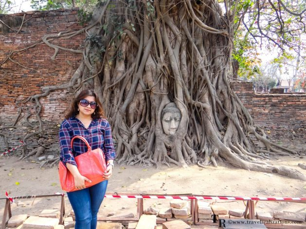 "The imprints of time at ""Wat Maha That"" in Ayutthaya, Thailand, Travel Realizations, Buddha head inside trees, chirasree banerjee"