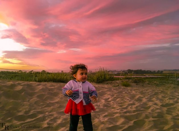 Travel Realizations, Moss Landing State Beach, California, Family Travel, A perfect family evening, sunset, baby on a seashore