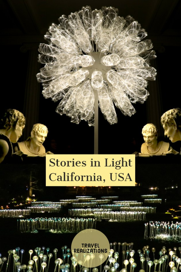 British artist Bruce Munro with his art installation beautifully named Stories in Light in Montalvo arts center in Saratoga, California took me away to an unknown world where darkness was a stage and light, a performer! This art installation blooms at night. This is a tale of a lyrical evening. #california #travel #exhibitions #travelblog