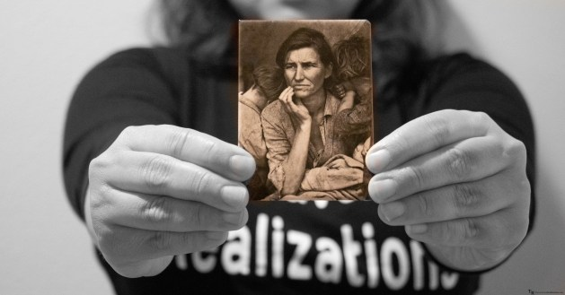 Celebrating women - A Montage of travel souvenirs, Travel Realizations, The Immigrant mother, Dorothea Lange