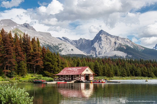 Spirit Island in Canada - A famous icon of the Canadian Rockies, Curly Phillips historic boathouse, Travel Realizations