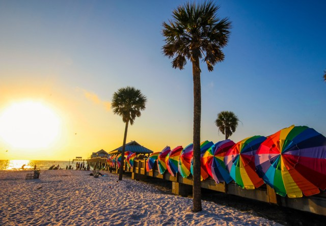 Vibrant colors of Clearwater beach, Florida at sunset