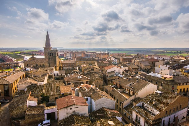 The town of Olite, Spain. This town is famous for its Royal Palace/Castle.