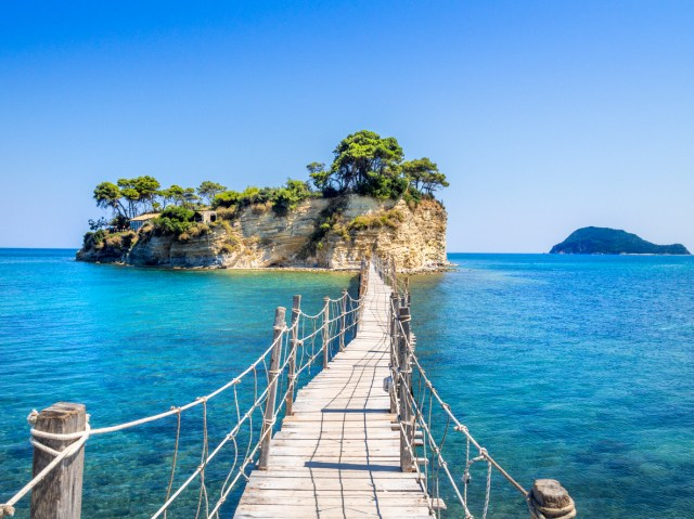 Lounge island with hidden beach. Island in front of Zakinthos to be reach by footbridge. Small hidden paradise, local best keptt secret.