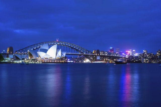Opera House and Harbor Bridge at twilight.