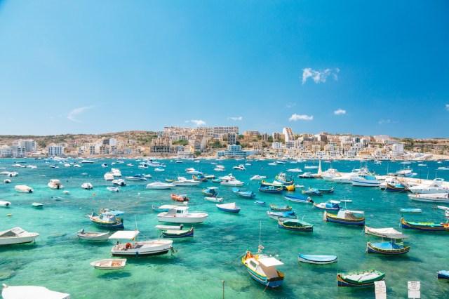 Boats in Bugibba bay, Malta