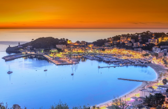 Aerial view on the harbour and town of Port de Soller on Mallorca at dusk