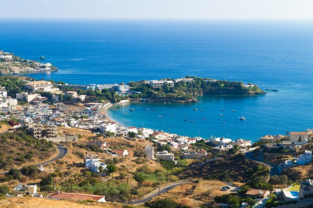 Agia Pelagia Heraklion Crete Greece panoramic skyline. Popular travel destination, fishing village vacation resort, secluded beaches, clear turquoise ocean waters. Travel , vacation tourism concept