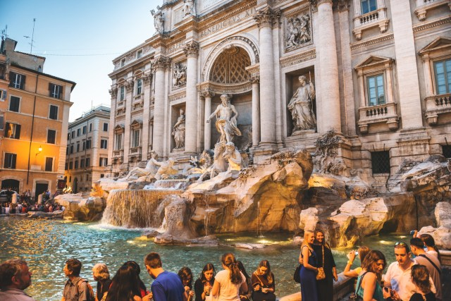 Trevi fountain in Rome full of tourist