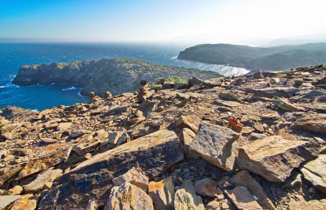 The wind beaten and dry rocky landscape of the Cape in Cap de Creus peninsula, Costa Brava, Catalonia, Spain. This extraordinary landscape inspired some Salvador Dali works.