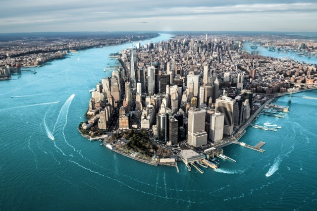 Aerial view of Manhattan island