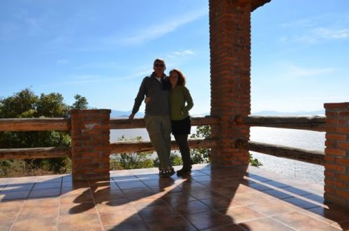 Mi y mi esposo overlooking Lake Patzcuaro.